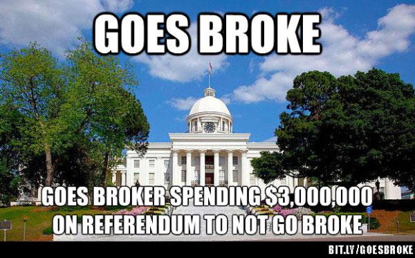 Goes broke